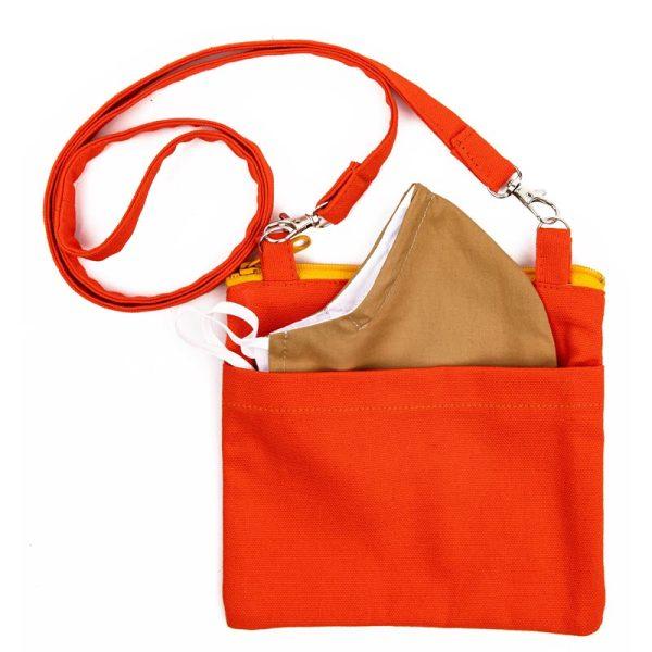 Photo of Mini Essentials Bag Set in tangerine, back side