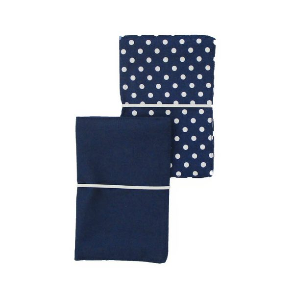 Large Flip Pouch Duo - Blue with polka dots
