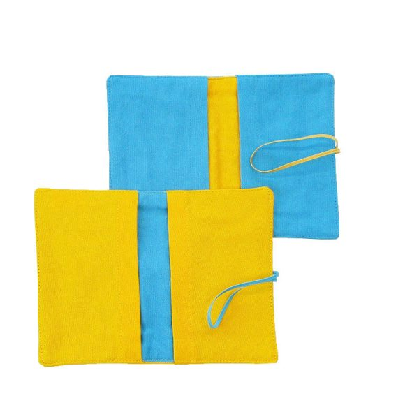 Large Flip Pouch Duo - Turquoise and Yellow